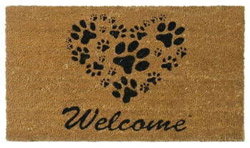 A 'welcome' mat covered with printed paw prints